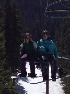 Students on the chairlift
